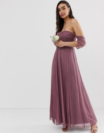 ASOS DESIGN Bridesmaid bardot ruched pleated maxi dress Dusty Purple
