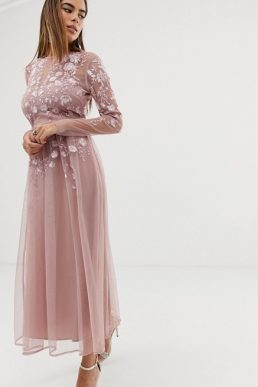 ASOS DESIGN long sleeve embroidered midi dress Blush Pink