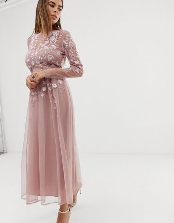ASOS DESIGN long sleeve embroidered midi dress Blush Pink