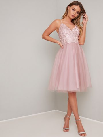 Chi Chi Dianne Tulle Bridesmaid Dress Blush Pink