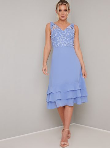 Chi Chi Lace Hemmie Sheer Midi Bridesmaid Dress Cornflower Blue