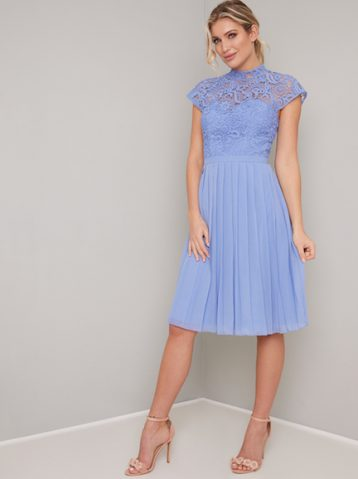 Chi Chi Lace Rozie Midi Bridesmaid Dress Cornflower Blue