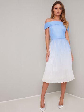 Chi Chi Mireya Ombre Bardot Dress White Blue