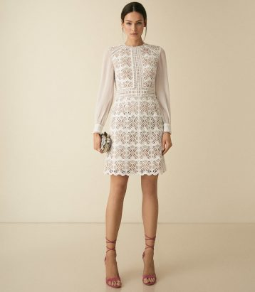 Reiss Aria Geometric Lace Dress With Sheer Sleeves White Cream