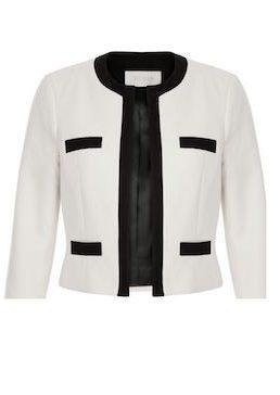 Hobbs Alison Colour Block Jacket Ivory Black
