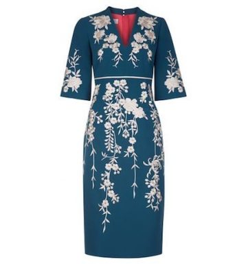 Hobbs Siobhan Floral Embroidered Sleeve Dress Blue Ivory