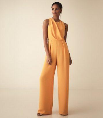 Reiss Chey cut out detail jumpsuit orange