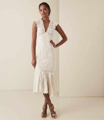 Reiss Anastasia lace overlay flute hem midi dress Neutral white cream
