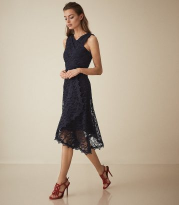Reiss Rayna wrap front lace dress Navy Blue