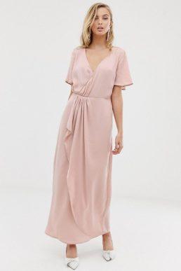 4954ec6e6b5 Vila wrap maxi dress with pleat detail Blush Pale Pink