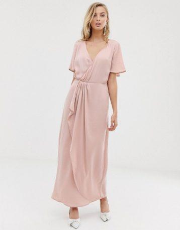 Vila wrap maxi dress with pleat detail Blush Pale Pink