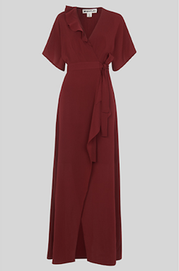 Whistles Nova Frill Wrap Maxi Bridesmaid Dress Burgundy