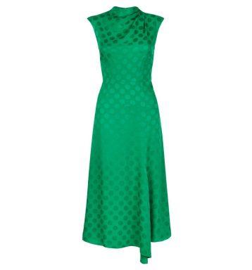 Hobbs Marina Spot Dress Green