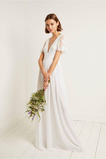 Linen Wedding Dress.French Connection Emelina Embellished Dress Linen White