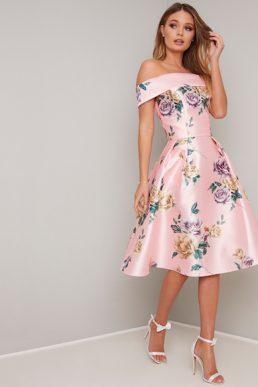 Chi Chi Rhiane Bardot A-Lline Dress Pink Multi