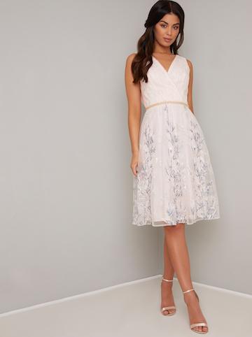 Chi Chi Tenley Floral Dress Pale Pink Myonewedding Co Uk