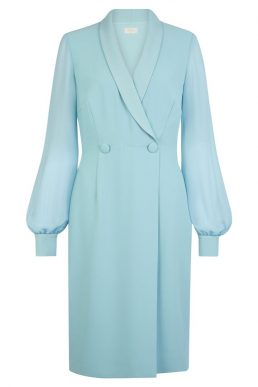Hobbs Lana Tux Shift Dress Blue Aqua