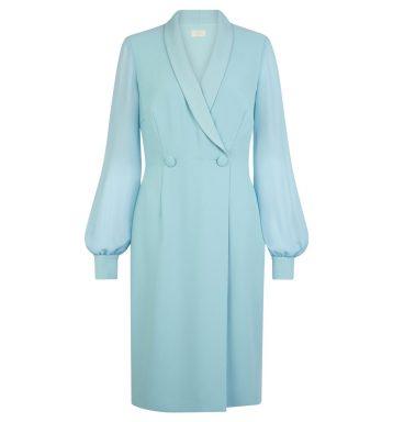 Hobbs Lana Tux Shift Dress Blue Aqua