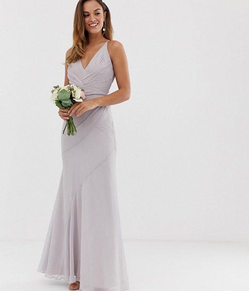 8d4d2277bab ASOS DESIGN Bridesmaid maxi dress pleated fishtail skirt Soft Grey. ASOS  DESIGN Bridesmaid maxi dress pleated fishtail skirt Soft Grey