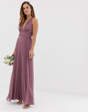 ASOS DESIGN Bridesmaid ruched bodice maxi dress with wrap waist Dusty Purple