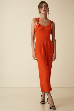 Reiss Amika Bow Back Detail Jumpsuit Orange Red