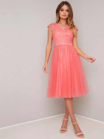 Chi Chi Nika Lace Tulle Dress Coral