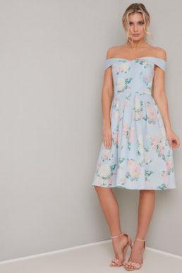 Chi Chi Safron Floral Bardot Dress Pale Blue Multi