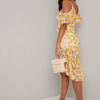 Chi Chi Sunny Floral Cold Shoulder Dress Yellow White