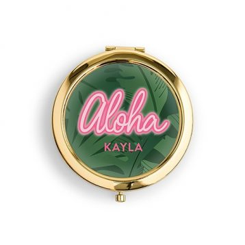 Personalised Engraved Bridal Party Compact Mirror - Aloha Palm Leaf
