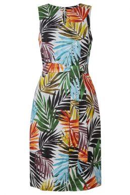 Hobbs Amalfi Linen Palm Print Dress White Multi