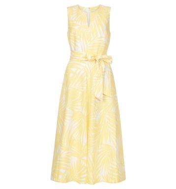 Hobbs Deborah Linen Dress Yellow White