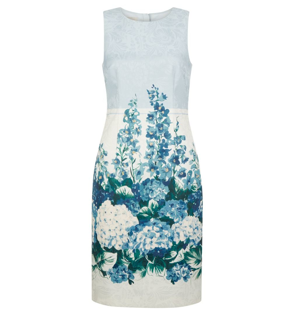 Hobbs Hydrangea Shift Dress Blue White