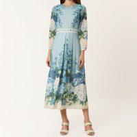 Hobbs Hydrangea Sleeve Midi Dress Blue Multi