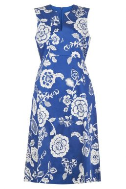 Hobbs Lauren Floral Shift Dress Blue White