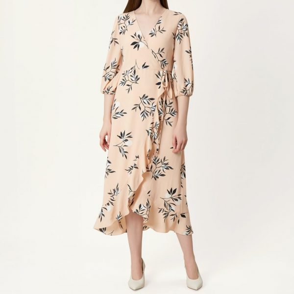 f04c073f01 Hobbs Kayla Leaf Print Sleeve Dress