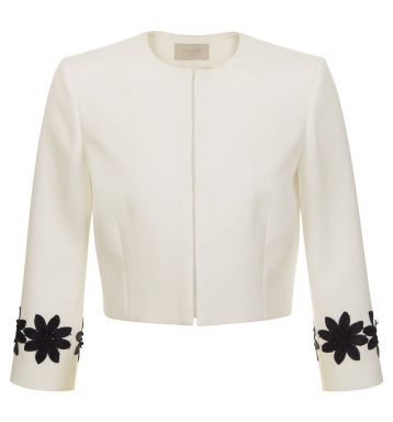 Hobbs Louise Embroidered Jacket Black White