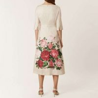 Hobbs Princess Rose Print Sleeve Midi Dress Pink Multi