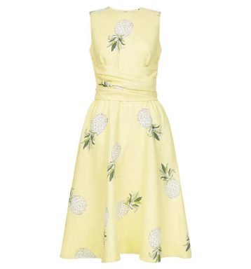 Hobbs Twitchill Pineapple Linen Dress Yellow Multi