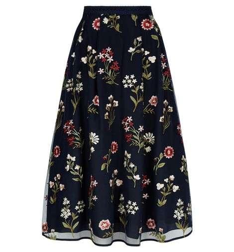 Hobbs Victoria Posey Skirt Navy Multi