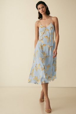 Reiss Alli Floral Strappy Midi Dress Multi Blue