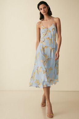 Reiss Alli Floral Strappy Midi Dress Multi Blue