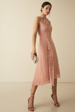 Reiss Stephie Asymmetric Lace Dress Blush Pink