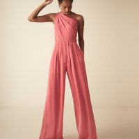 Reiss Polly asymmetric shoulder wide leg jumpsuit Coral Pink