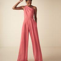 Reiss Polly asymmetric shoulder wide leg jumpsuit Coral Pink