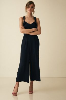 Reiss Amika Bow Back Detail Jumpsuit Black