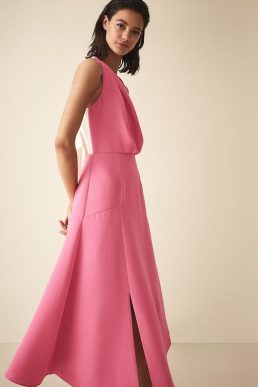 Reiss Cheyenne Bow Detail Midi Dress Pink