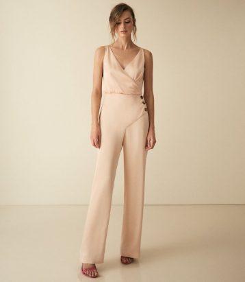 Reiss Antonia button detail jumpsuit gold pink metallic