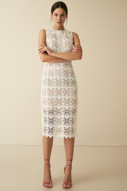 Reiss Coral lace slim fit midi dress white nude