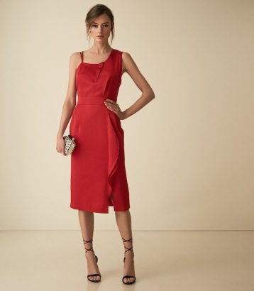 Reiss Sara One Shoulder Cocktail Dress Red