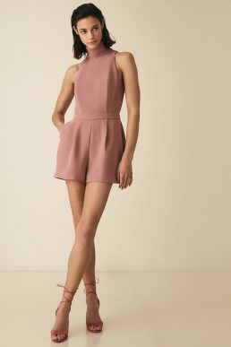 Reiss Lucille open back playsuit Blush Pink